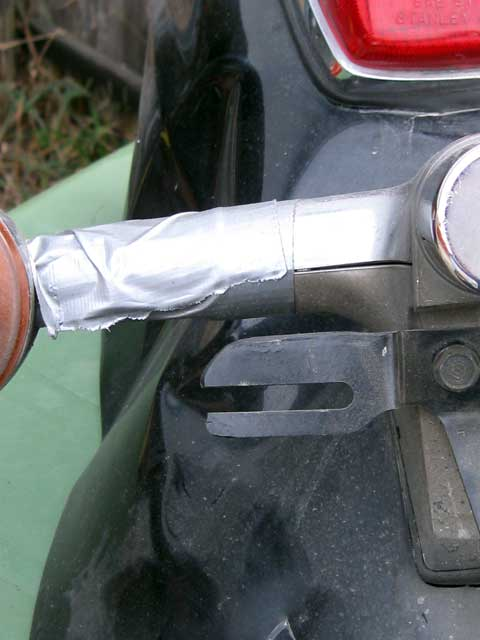 The emercency repair...duct tape holding the blinker together,