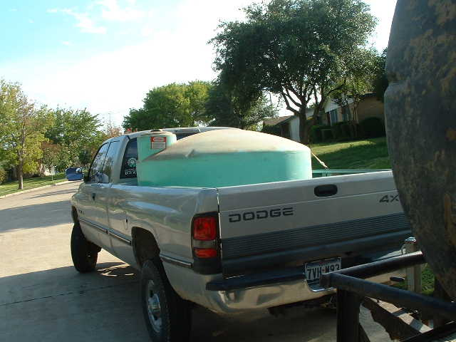 This truck transport tank holds 425 gallons and is suitable for transferring water from the city to the big storage tank