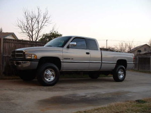 The 97 Dodge v-10 4x4 pick-em-up-truck