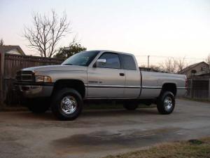 The 97 Dodge v-10 4x4 pick-em-up-truck