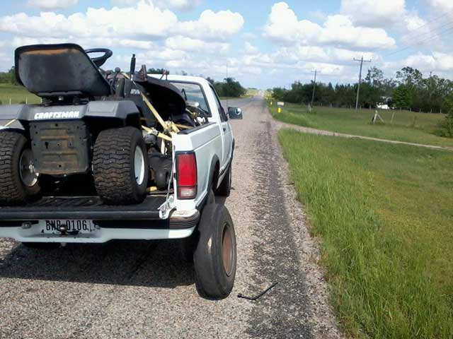 Lost the right rear tire, twenty miles west of Paris,Texas