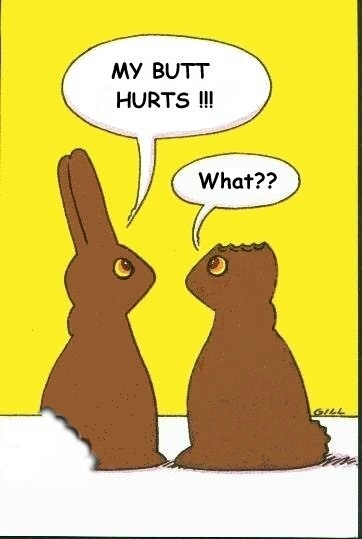 My mom has a long history of biting the ears of our chocolate Easter bunnies. Mom? Is that you?